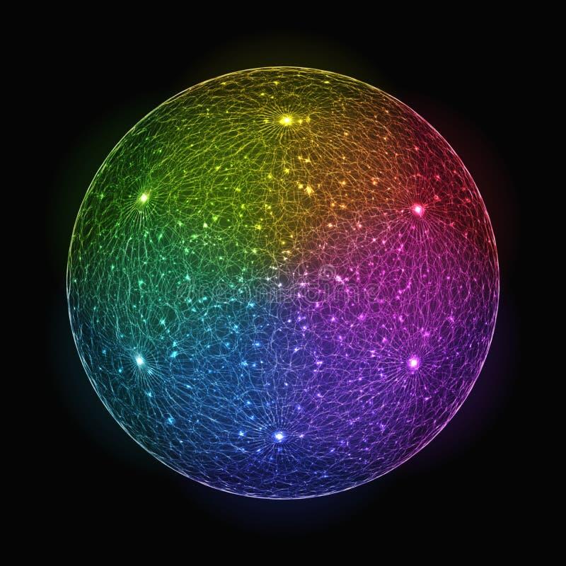 Stylizowanej tęczy Gradientowa Migocąca sfera ilustracji