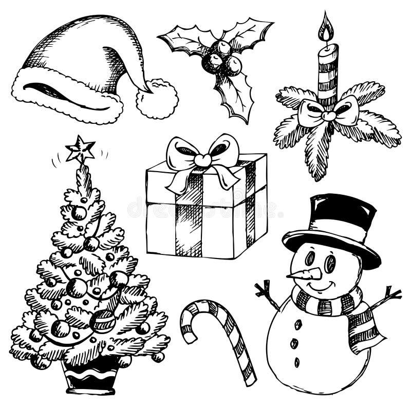 Stylizowani Boże Narodzenie rysunki (1) ilustracji