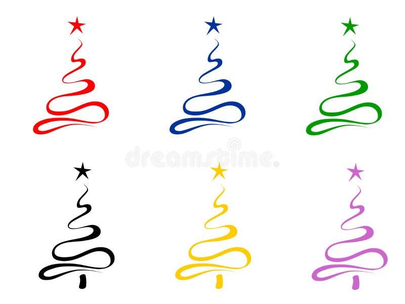stylizowani Bożych Narodzeń drzewa royalty ilustracja