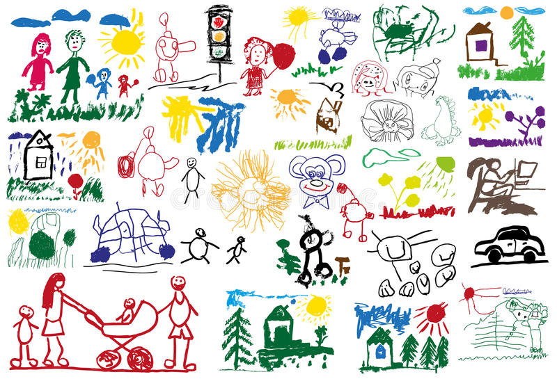 Stylizowani children rysunki royalty ilustracja