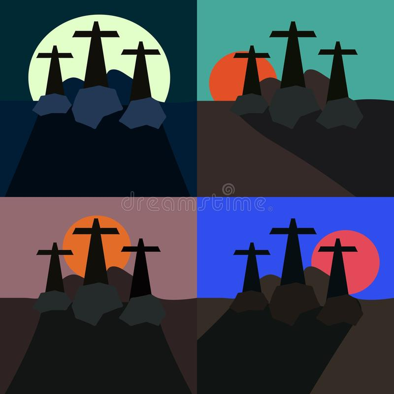 Stylizowani krajobrazy z trzy krzyżami royalty ilustracja
