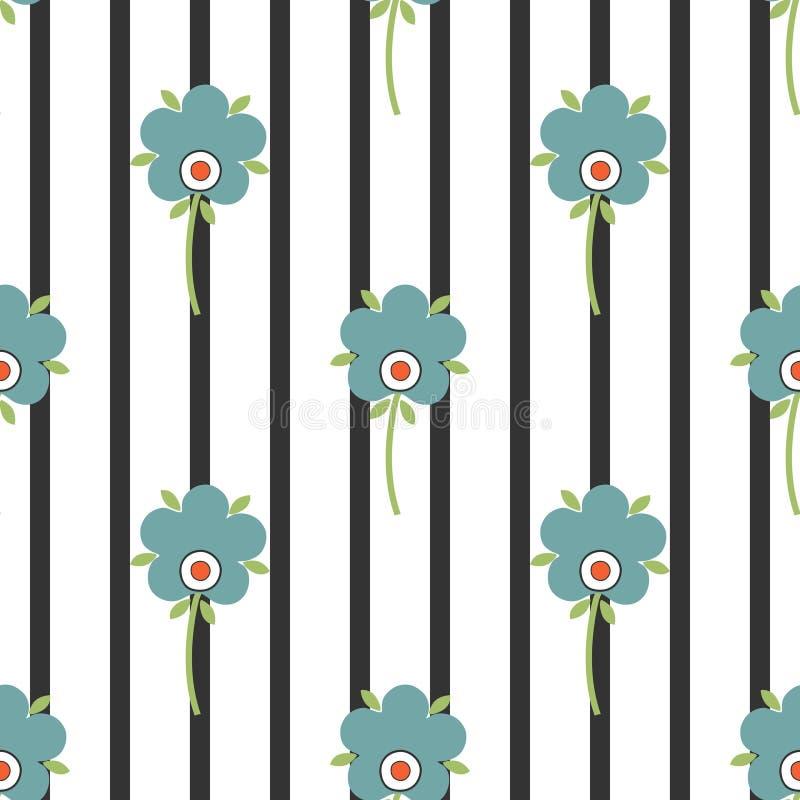 Stylizowani kwiaty na pasiastym tle, bezszwowy wzór royalty ilustracja