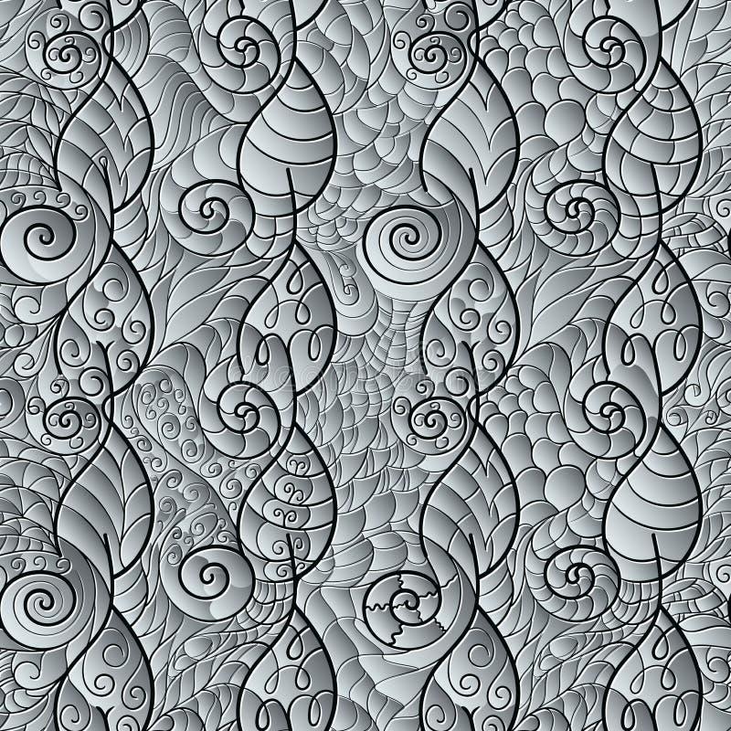 Stylizowani liście i spirale bezszwowy wzoru ilustracji