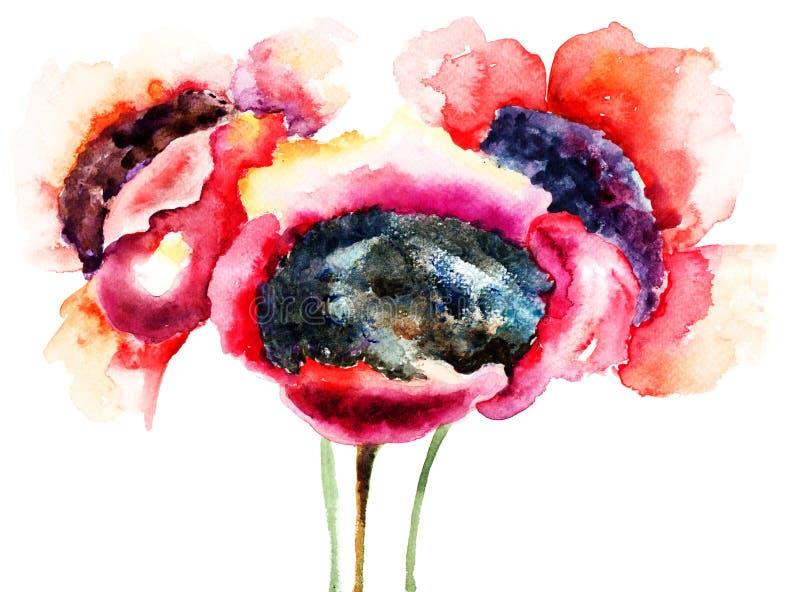 Stylizowani maczków kwiaty royalty ilustracja