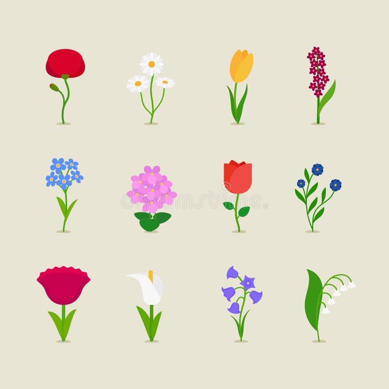 Stylizowani mod kwiaty ilustracja wektor