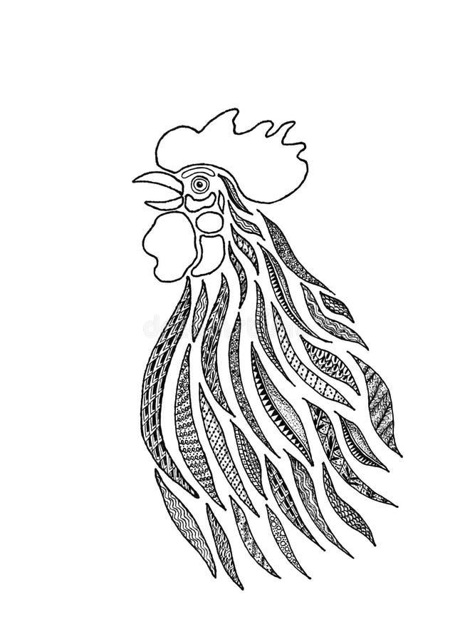 Stylizowany Śpiewacki kogut ilustracja wektor