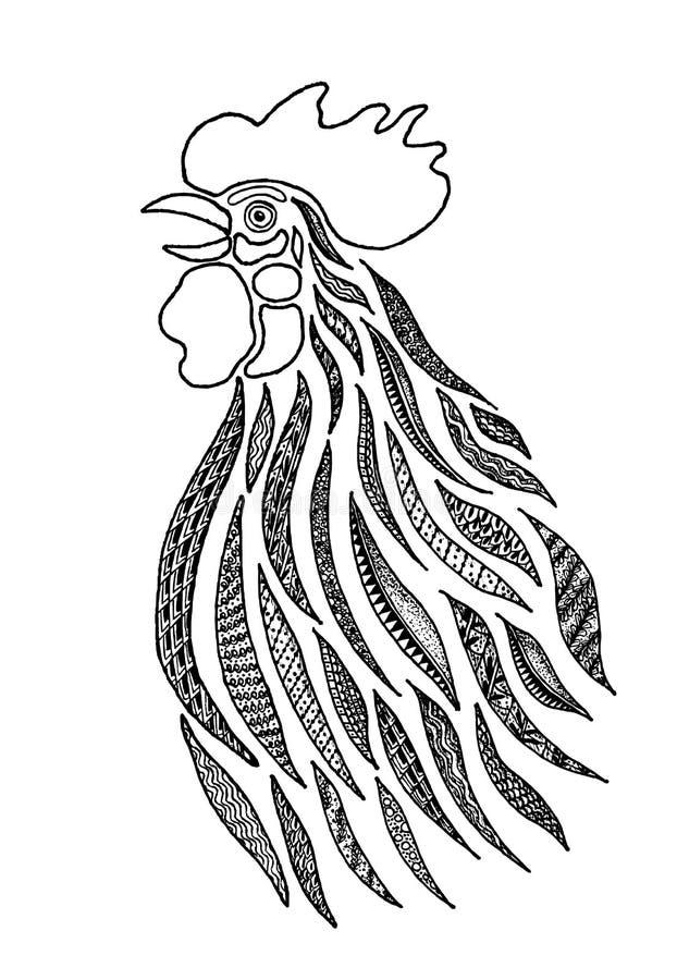 Stylizowany Śpiewacki kogut ilustracji