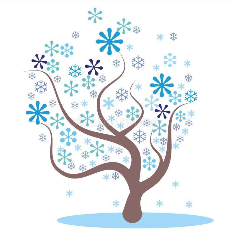 Stylizowany, abstrakcjonistyczny zimy drzewo, ilustracja wektor