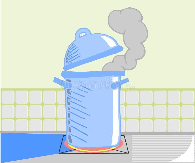 Stylizowany błękitny garnek na ogieniu ilustracja wektor