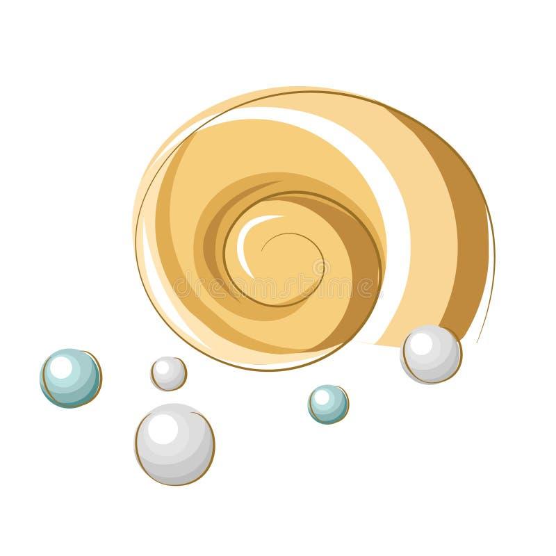Stylizowany beżowy seashell i perły royalty ilustracja