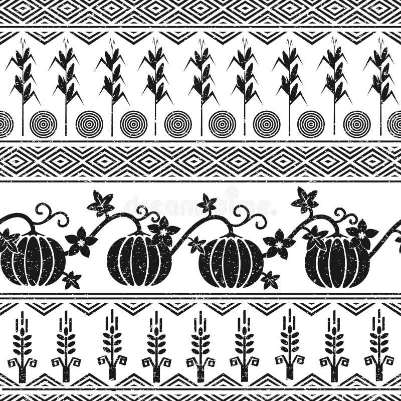 Stylizowany bezszwowy tło z banatką, kukurudzą, baniami i rodowitych amerykan hindusów symbolami, royalty ilustracja