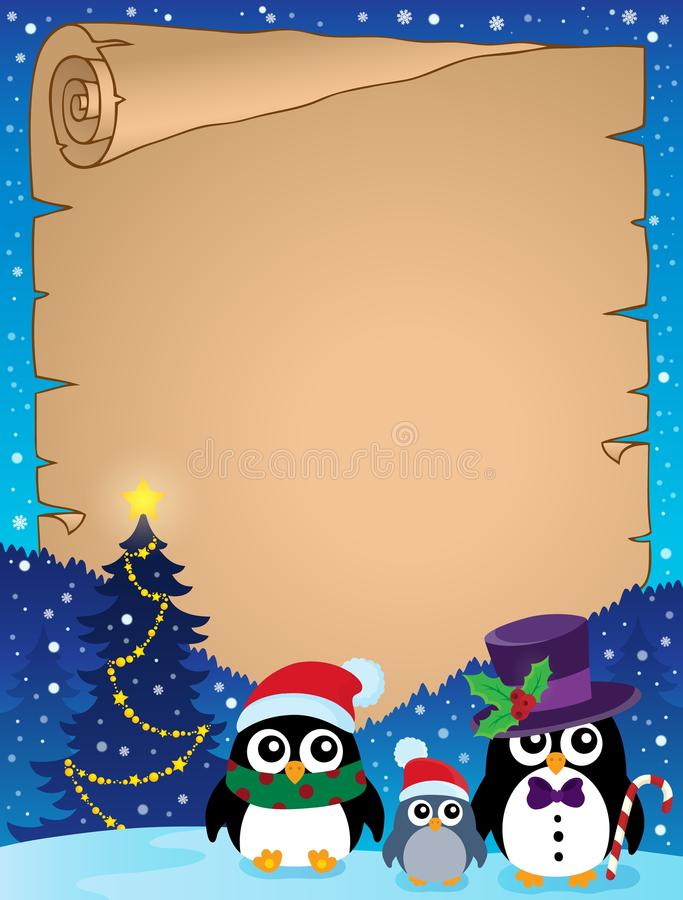Stylizowany Bożenarodzeniowy pingwinu pergamin 1 ilustracja wektor