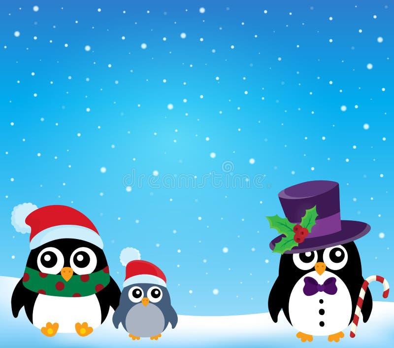 Stylizowany Bożenarodzeniowy pingwinu temat 1 ilustracja wektor
