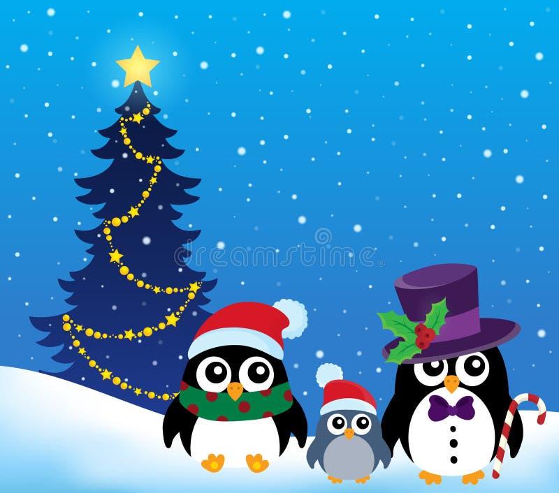 Stylizowany Bożenarodzeniowy pingwinu temat 2 ilustracja wektor
