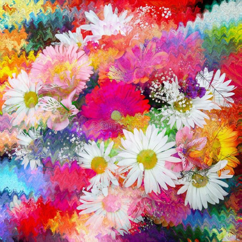 Stylizowany bukiet chamomile, leluja, gerbera na tęczy, grunge plamił dynamicznego falistego tło ilustracji