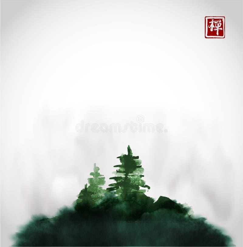 Stylizowany czarny atramentu obmycia obraz z sosnami na zielonym wzgórzu w mgła atramentu obrazu Tradycyjnym orientalnym sumi-e,  royalty ilustracja