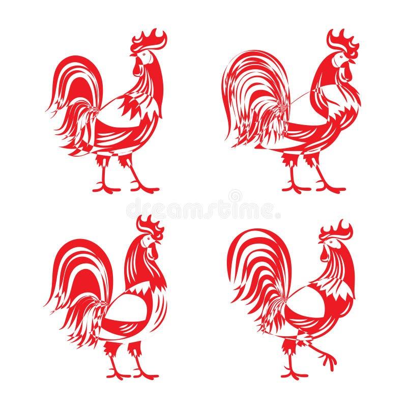 Stylizowany czerwony cockerel koguta sylwetki set ilustracja wektor