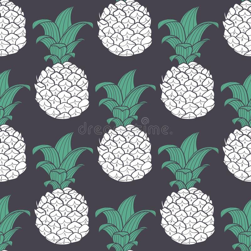 Stylizowany fiołkowy geometryczny bezszwowy wzór z ananasem ilustracji