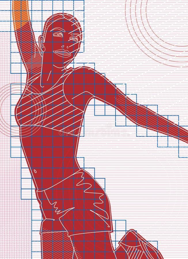Stylizowany graficzny wizerunek dziewczyna z kostiumem dla sprawności fizycznej Cyfrowej ilustracja royalty ilustracja