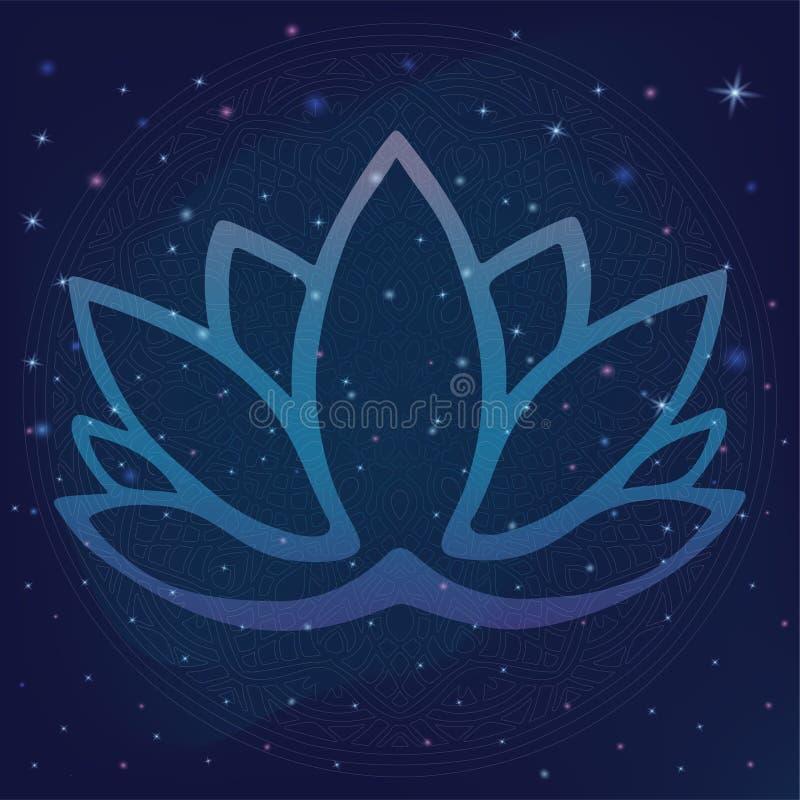 Stylizowany konturu lotosowego kwiatu logo w cieniach błękit i purpury obramiać na gwiaździstego nocnego nieba galaktycznym astro royalty ilustracja
