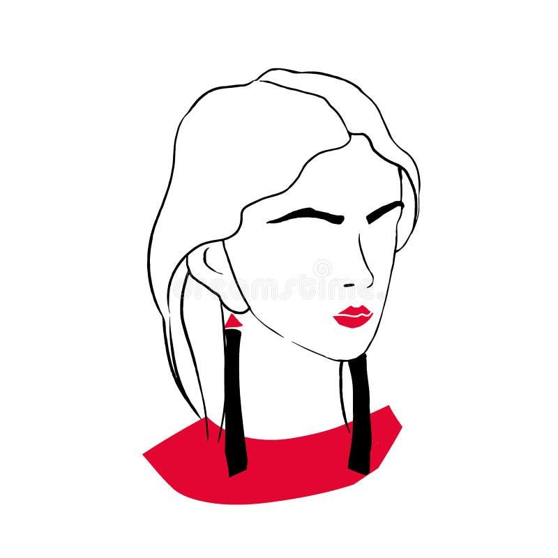Stylizowany konturu portret elegancka modna młoda dama Rysować elegancka kobieta z czerwonymi wargami, modna kitka royalty ilustracja