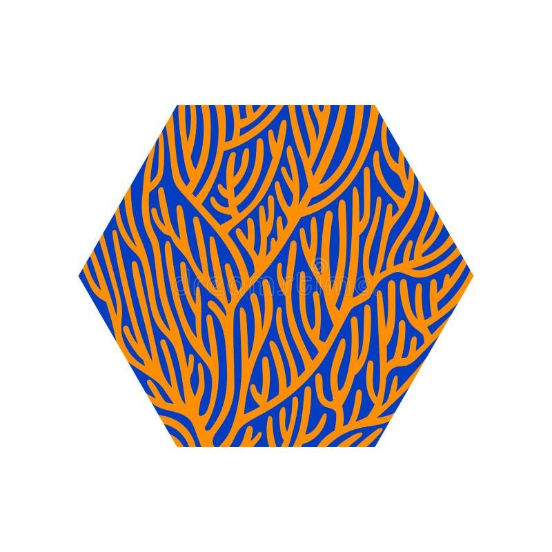 Stylizowany koralowy tło Sześciokąt wektorowa nowożytna ilustracja, plażowy wakacyjny symbol, lato czasu projekta elementu, błęki ilustracji