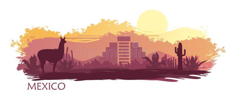 Stylizowany krajobraz Meksyk z lamą, kaktusami i antycznym ostrosłupem, ilustracja wektor