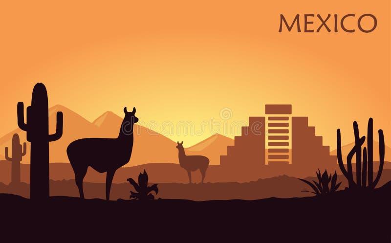 Stylizowany krajobraz Meksyk z lamą, kaktusami i antycznym ostrosłupem, royalty ilustracja