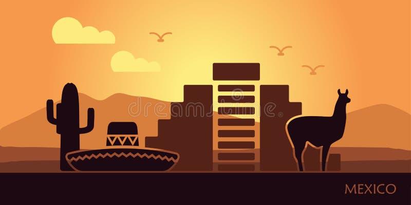 Stylizowany krajobraz Meksyk z lamą, kaktusami i antycznym ostrosłupem, ilustracji