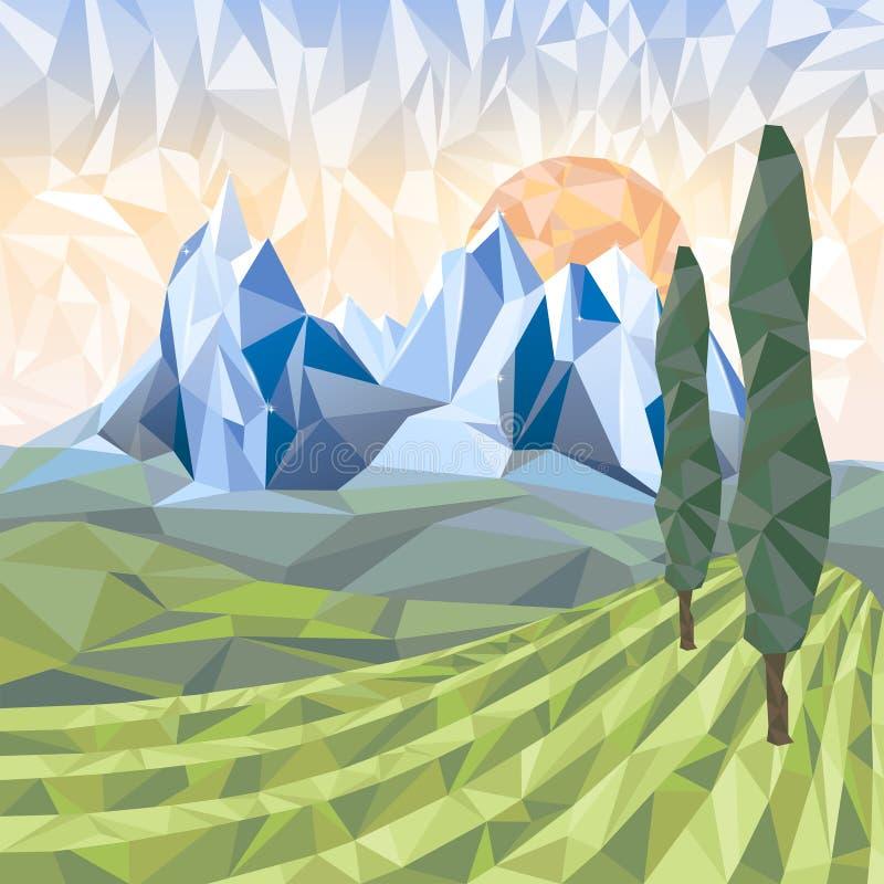Stylizowany krajobraz w origami stylu royalty ilustracja