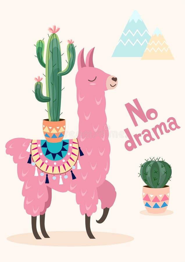 Stylizowany kreskówki lama z ornamentu kaktusem i projektem Wektor karta, plakat ilustracji