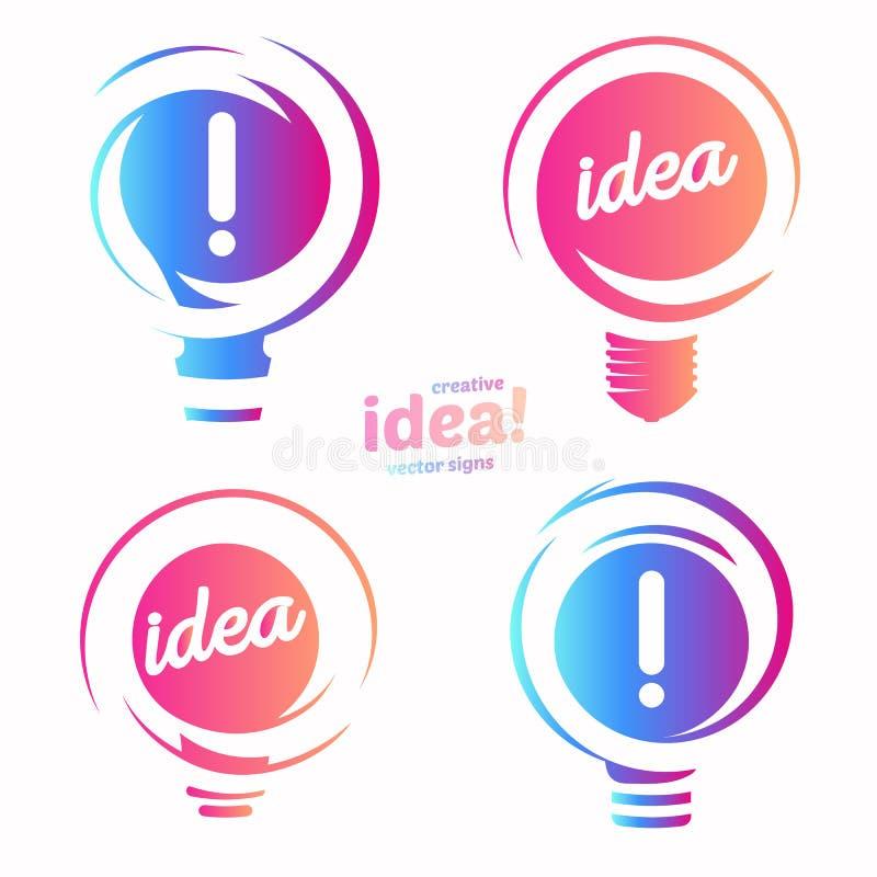 Stylizowany lightbulbs loga set, nowy pomysł i rozwiązanie abstrakcjonistyczny symbol, płaskiej jaskrawej kreskówki płonąca żarów royalty ilustracja