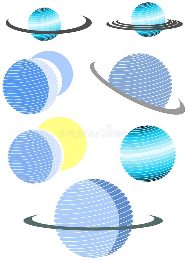 Stylizowany logo z planetą royalty ilustracja