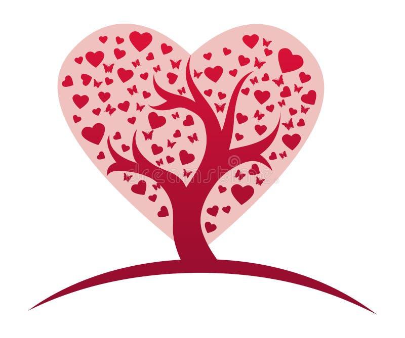 Stylizowany miłości drzewo ilustracja wektor