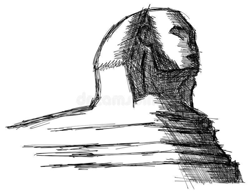 Stylizowany nakreślenie sfinks odizolowywający fotografia royalty free
