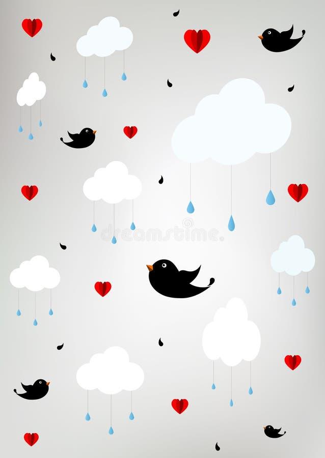 Stylizowany niebo z chmurami, raindrops, ptakami i sercami, ilustracja wektor