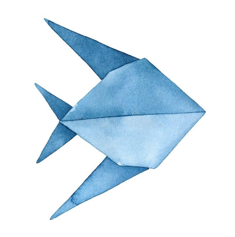 Stylizowany Origami ryby watercolour rysunek zdjęcie stock