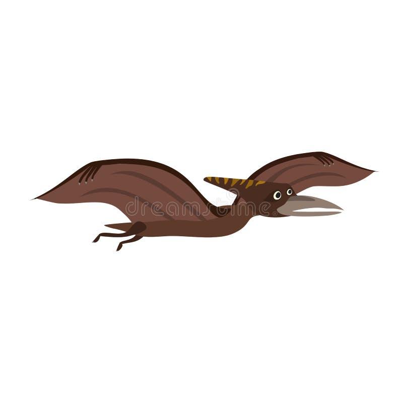 Stylizowany płaski wektorowy kreskówka pterodaktyla dinosaur royalty ilustracja