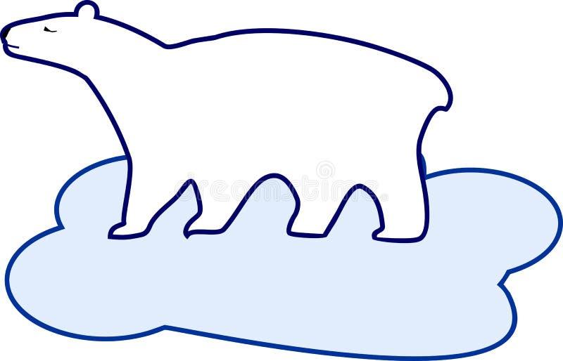 Stylizowany płaski wizerunek niedźwiedź polarny na lodowym floe royalty ilustracja
