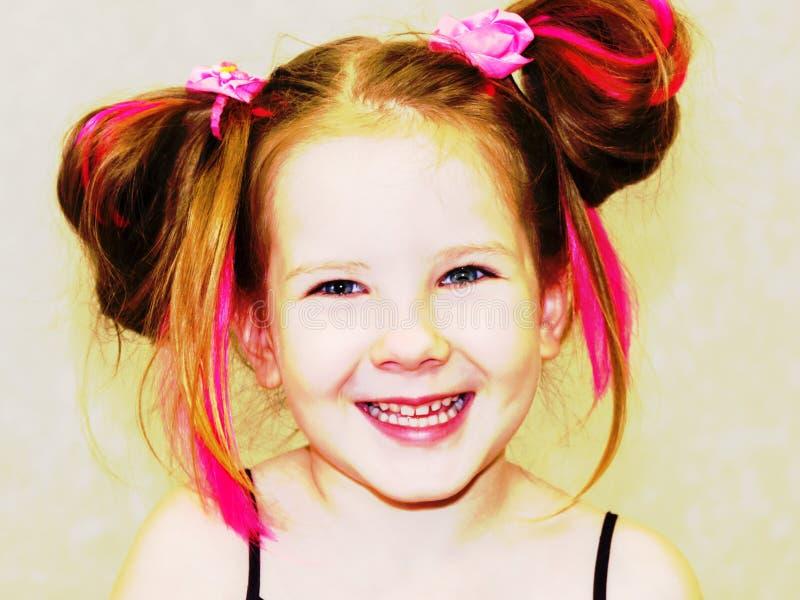 Stylizowany portret śliczny uśmiechnięty dzieciak fotografia royalty free