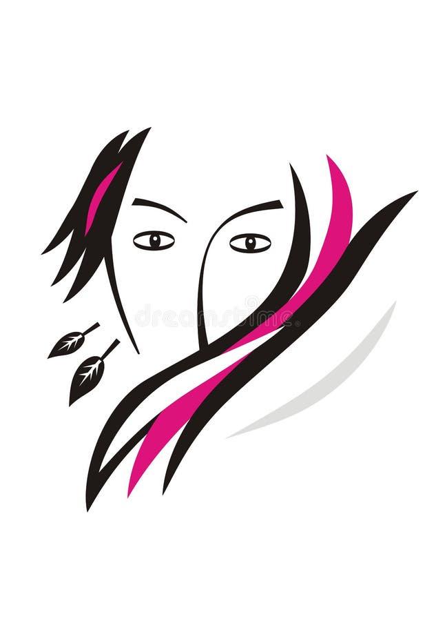 Stylizowany portret dziewczyna w czerni, bielu i purpur kolorach, Romans, sen, styl royalty ilustracja