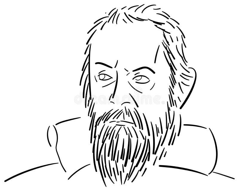 Stylizowany portret Galileo Galilei ilustracji