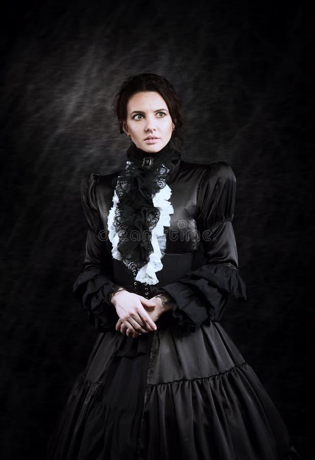 Stylizowany portret wiktoriański dama w czerni obraz royalty free