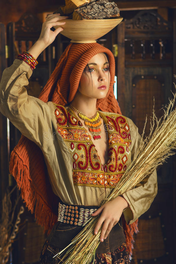 Stylizowany rocznika portret młoda kobieta w ethno stylu zdjęcie stock
