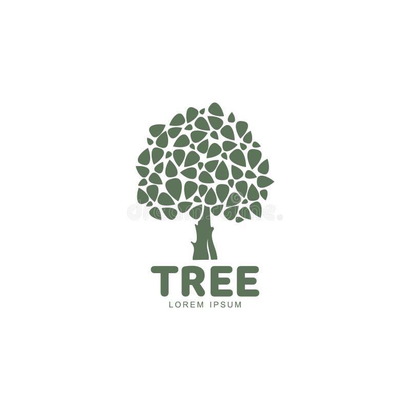 Stylizowany round kształtował zielonego dębowego drzewa loga szablon, wektorowa ilustracja ilustracji