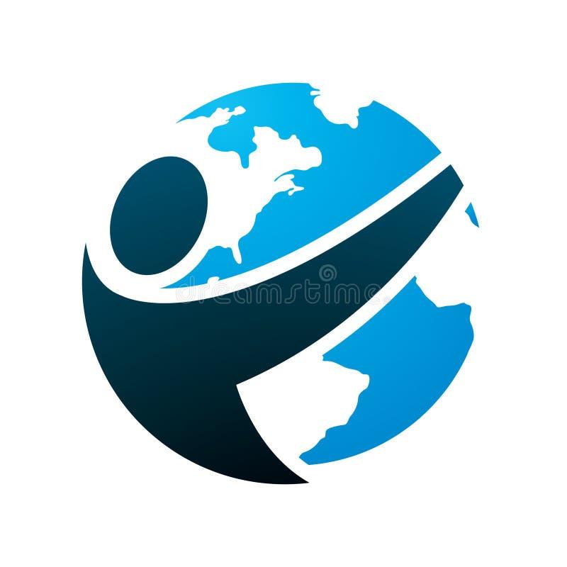 Stylizowany Round logo mężczyzna i kula ziemska fotografia stock