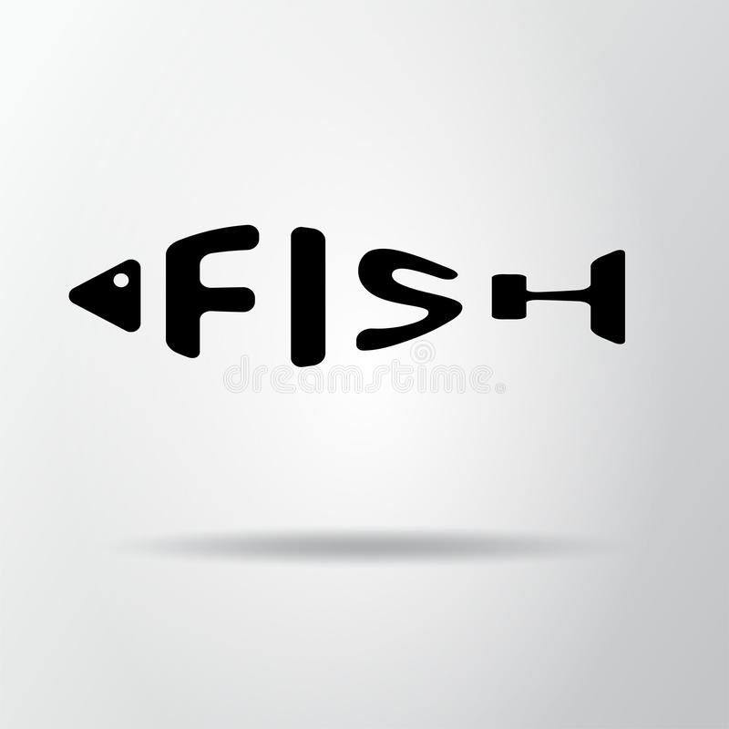 Stylizowany słowo w kształcie odizolowywającym na szarość ryba Owoce morza restraurant logo Sieci ikona, symbol Wektorowa ilustra royalty ilustracja