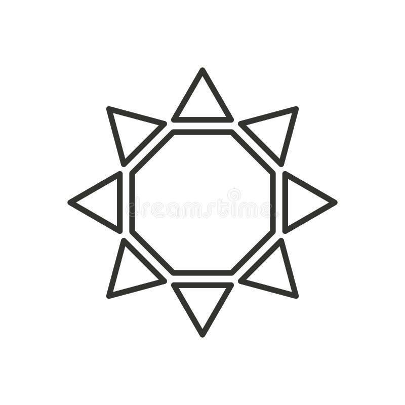 Stylizowany słońce logo Kreskowa ikona słońce, kwiat Odosobniony czarny konturu logo na białym tle royalty ilustracja