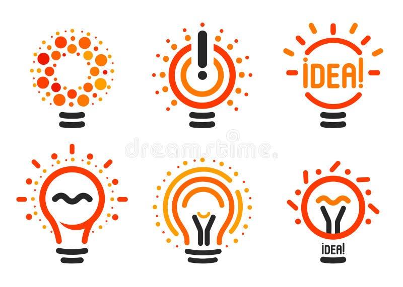 Stylizowany set wektorowi lightbulbs z linią, kropki, promień Nowych pomysłów symboli/lów inkasowi kolorowi logotypy Płaski abstr royalty ilustracja