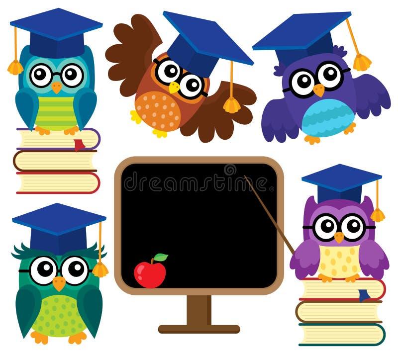 Stylizowany szkolny sowa temat ustawia 1 ilustracja wektor